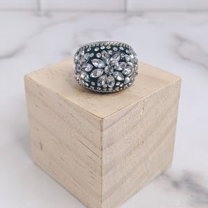 Jewelry - Distressed Silver tone and Crystal chunky ring